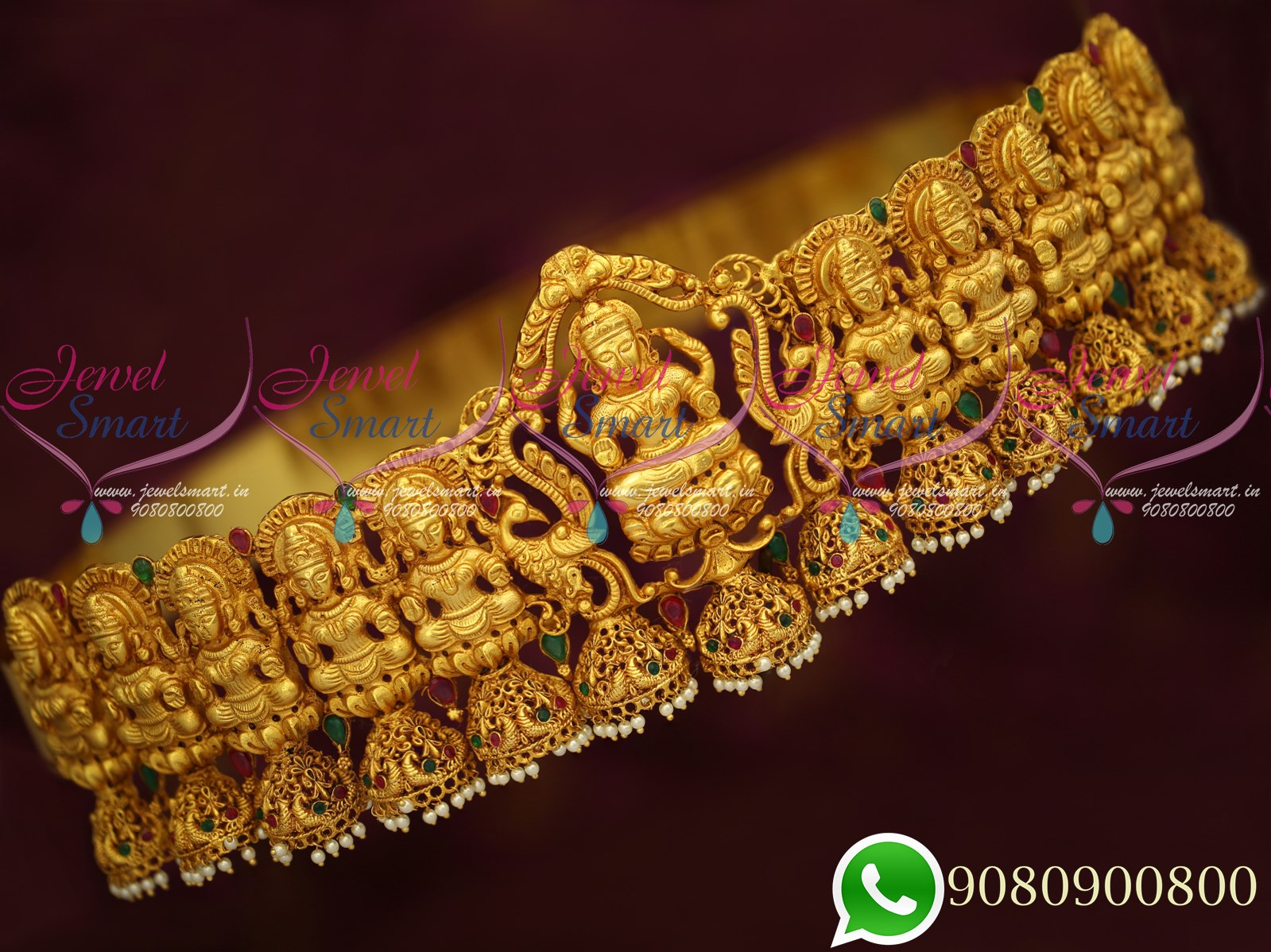 H19285 Bridal Grand Temple Jewellery Red Green Gold Plated Vaddanam Gheru  Reddish Yellow Colour