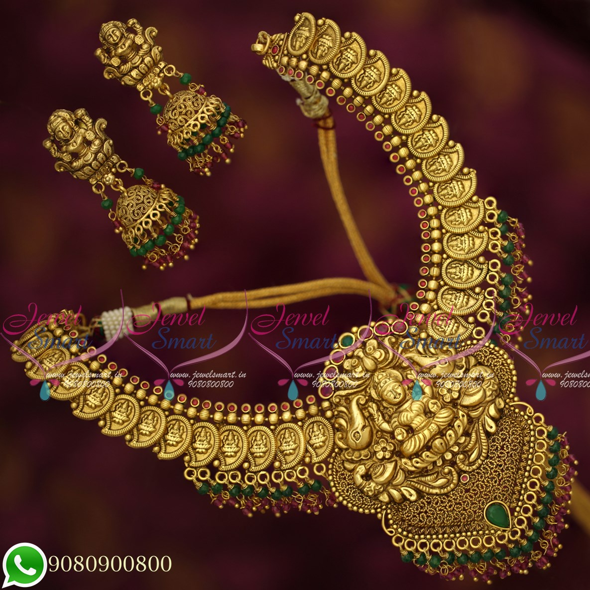1e5b01fa309af NL19614 Temple Jewellery Coin Laxmi Mango Design Antique Gold Plated  Traditional Collections