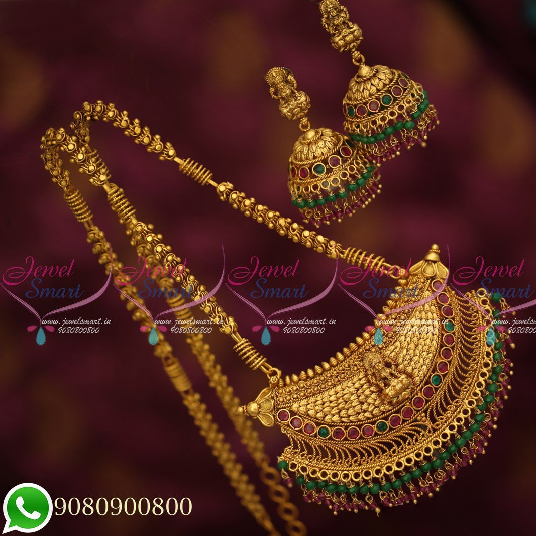 fbbabfa32806f PS19703 Temple Jewellery Antique Gold Plated Long Chain Traditional Crystal  Drops Pendant Jhumka Earrings Online