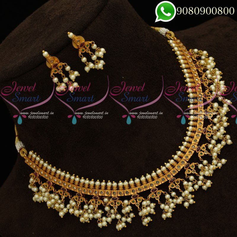 06955f742e0 Gutta Pusalu Pearl Jewellery Short Necklace Traditional South Indian  Designs Online NL19799 | JewelSmart.in