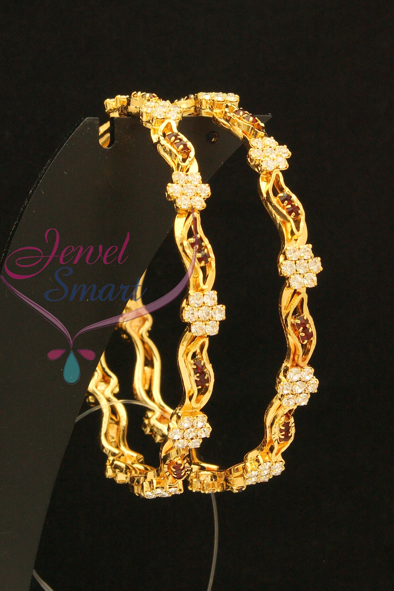 22ct Gold Plated Stone Bangles 2.6 Size