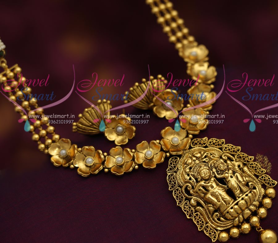 Nl7164 Antique Nagas Radha Krishna Temple Jewellery