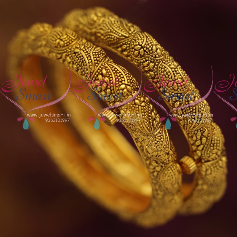 B7309 Antique Gold Plated Intricate Work Handmade Kada Bangles ...