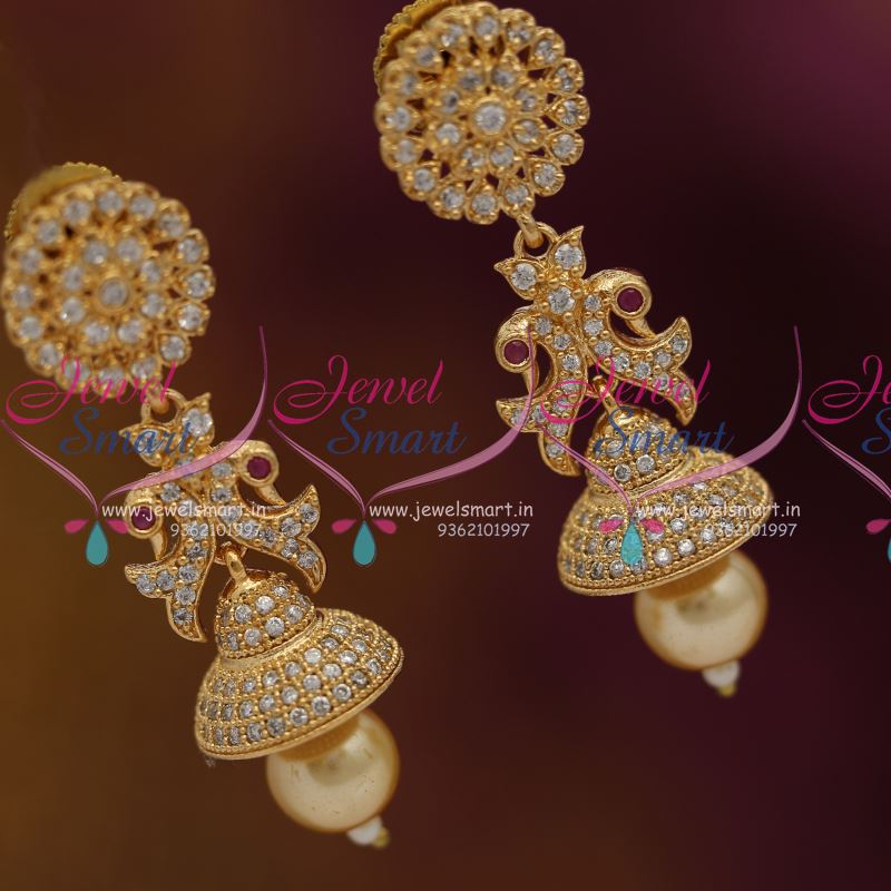 J6886 CZ White Pearl Drops Latest Jhumka Earrings Buy Online Lowest Price