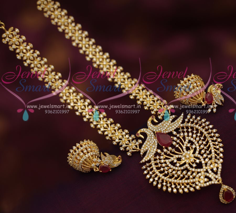 NL7250 CZ White Peacock Pendant Jhumka Gold Plated Finish Necklace New Designs