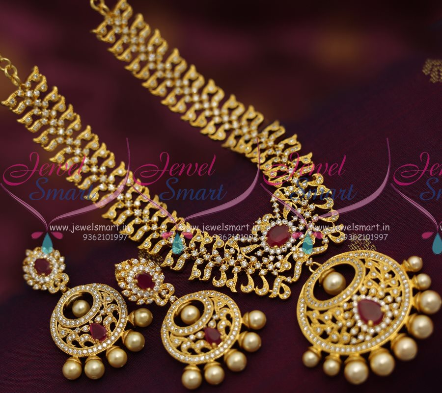 Nl7130 Cz Ruby Pearl Broad Necklace Chand Bali Earrings Design