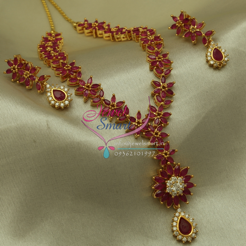 exclusive gold plated ruby necklace earrings fashion