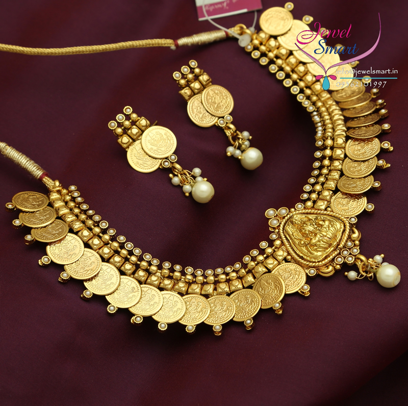 Gold Plated Temple Necklace Synthetic Stone Antique