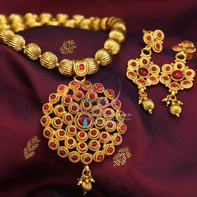 Gold Plated Necklace Earrings Set Indian Traditional: Indian Traditional Immitation Jewellery Gold Plated