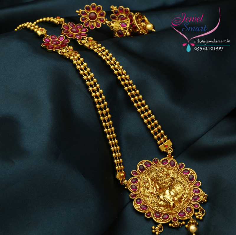 Gold Plated Kemp Temple Stones Long Necklace Jhumka