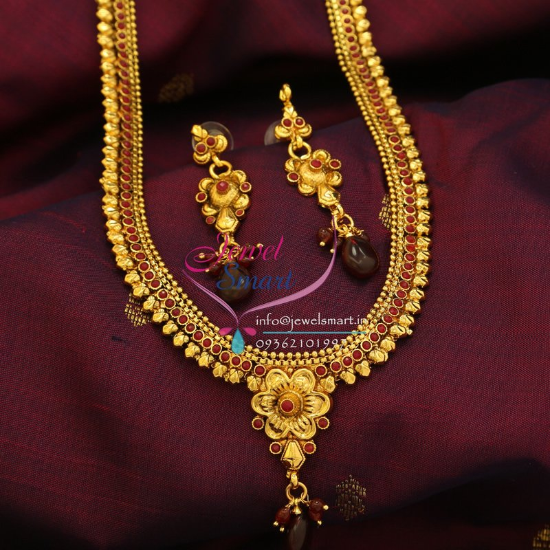 Indian Traditional Imitation Jewelry Antique Gold Plated Long Haar ...