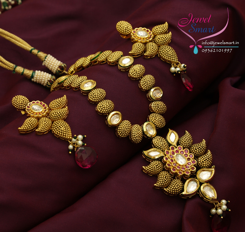 Gold Plated Real Kundan Stones Necklace Antique Finish New Designs
