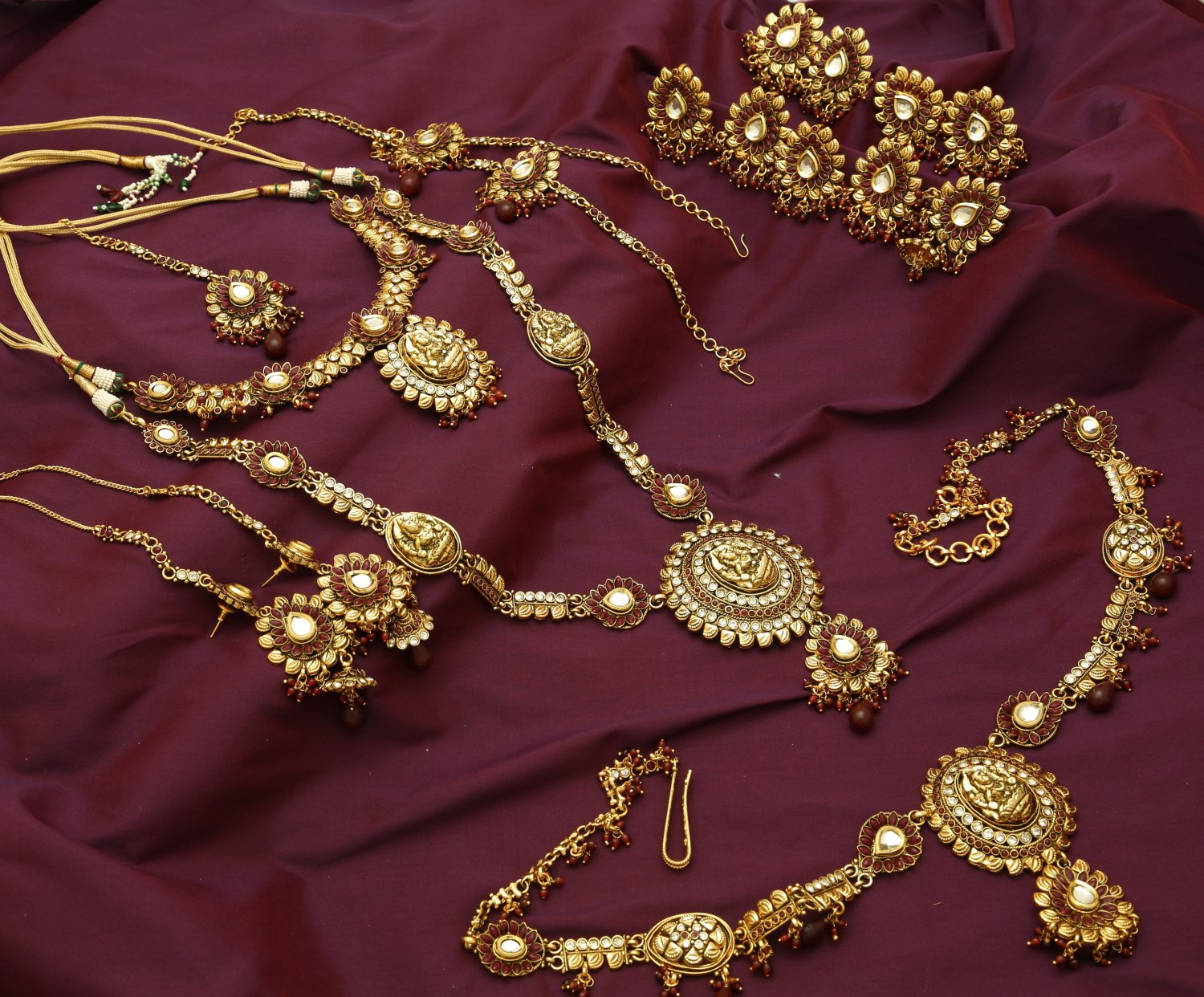Gold Plated Antique Temple Wedding Set Earrings Necklace Long Arm Band