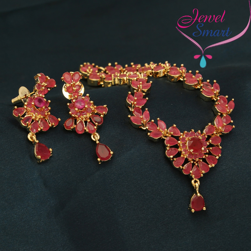gold plated ruby stones marquee stones necklace earrings