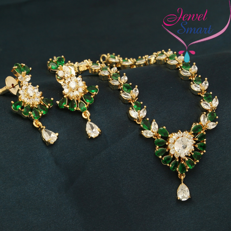 images necklace fashion gold zad stone green long wholesale fern detailed view