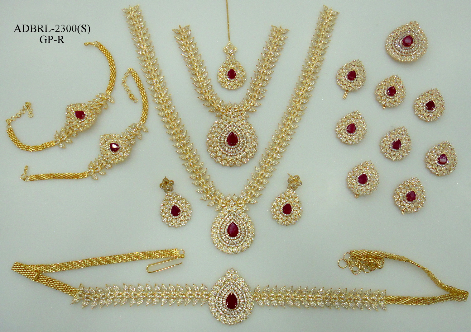 ADBRL2300GPR American Diamond Grand Full Bridal Jewellery Set Buy ...