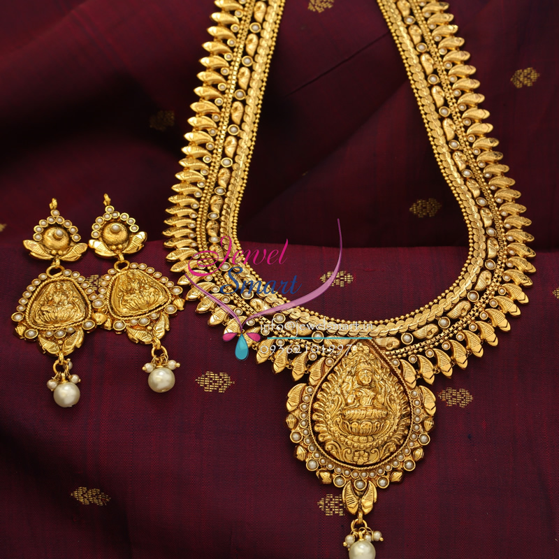 NL3973 Indian Traditional Temple Jewellery Antique Gold