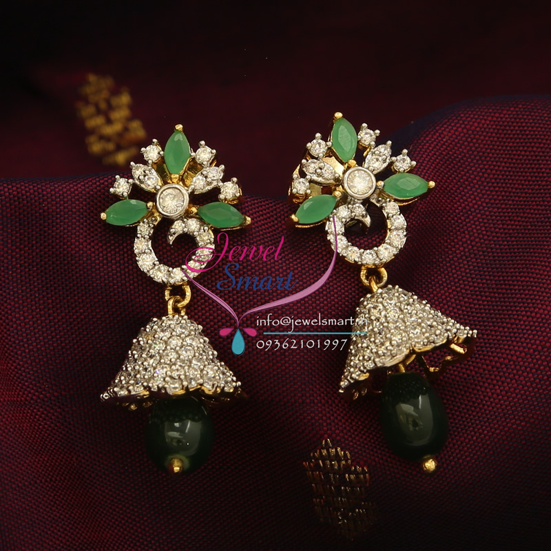 Gold Plated AD Semi Precious Stones Jhumka Earrings Indian Fashion