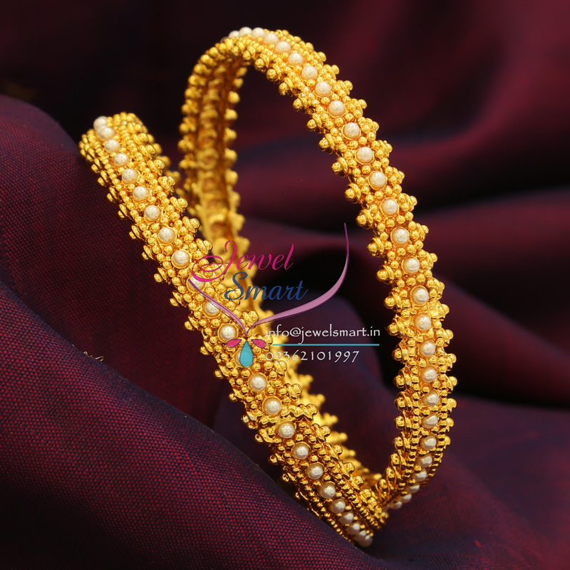 B0389 2 6 Size Synthetic Pearl Bangles High Gold Plating
