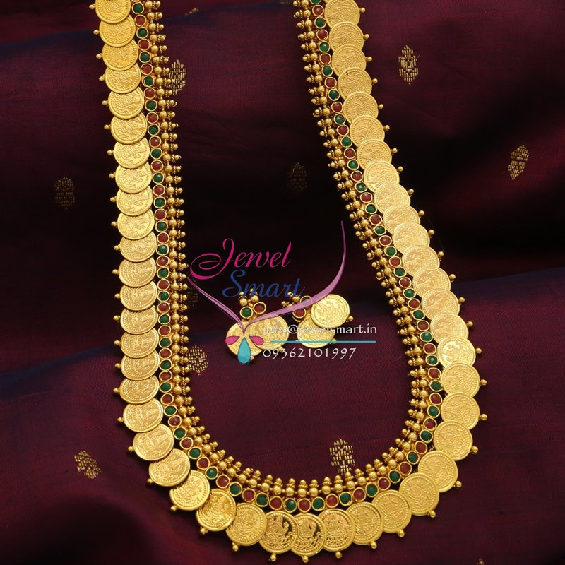 Laxmi Coin Long Necklace Temple Haaram South Indian ...