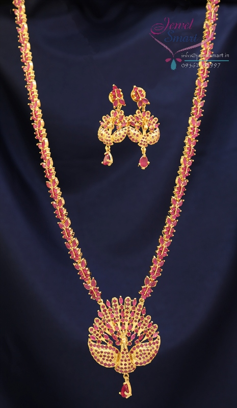 Traditional Gold Plated Peacock Design American Diamond