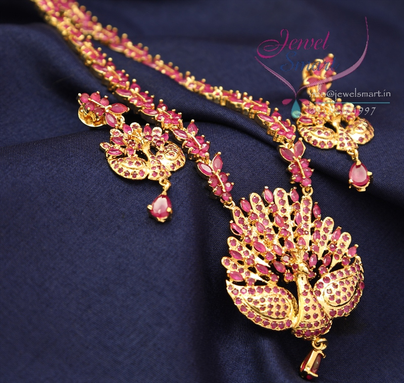 Traditional Gold Plated Peacock Design American Diamond Long Necklace Haaram Ear Rings