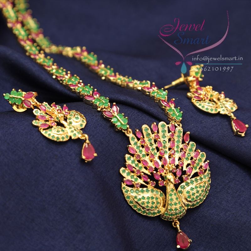 Traditional Gold Plated Peacock Design American Diamond Long ...