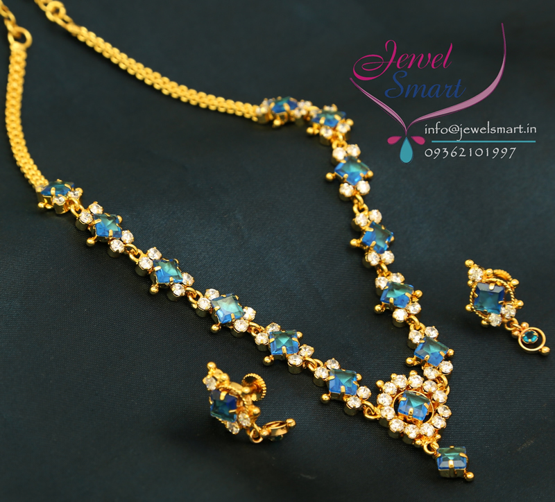 22ct Indian Gold Mangalsutra Necklace Set: N2600 22ct Gold Plated White Blue American Diamond Stones