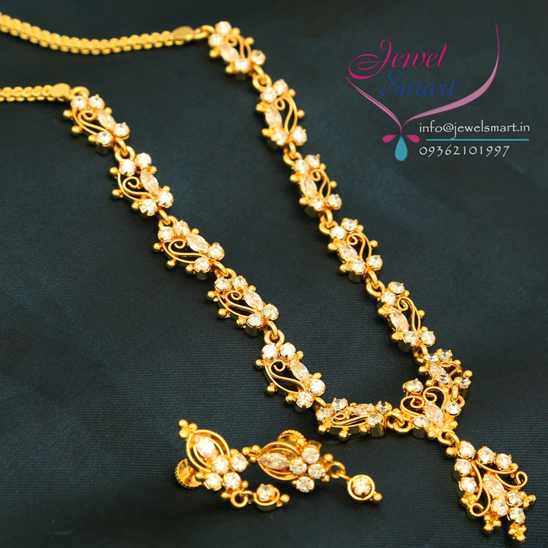 N2597 22ct Gold Plated White American Diamond Stones Necklace