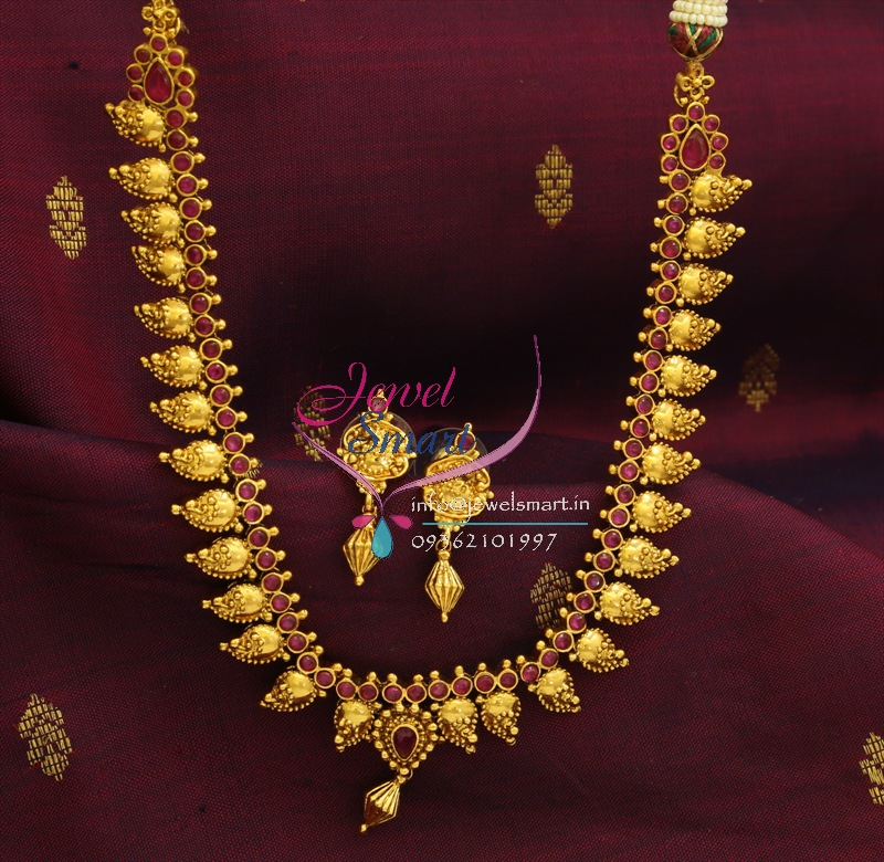 NL0528 Indian Traditional Ruby Necklace Imitation Mango Gold Design