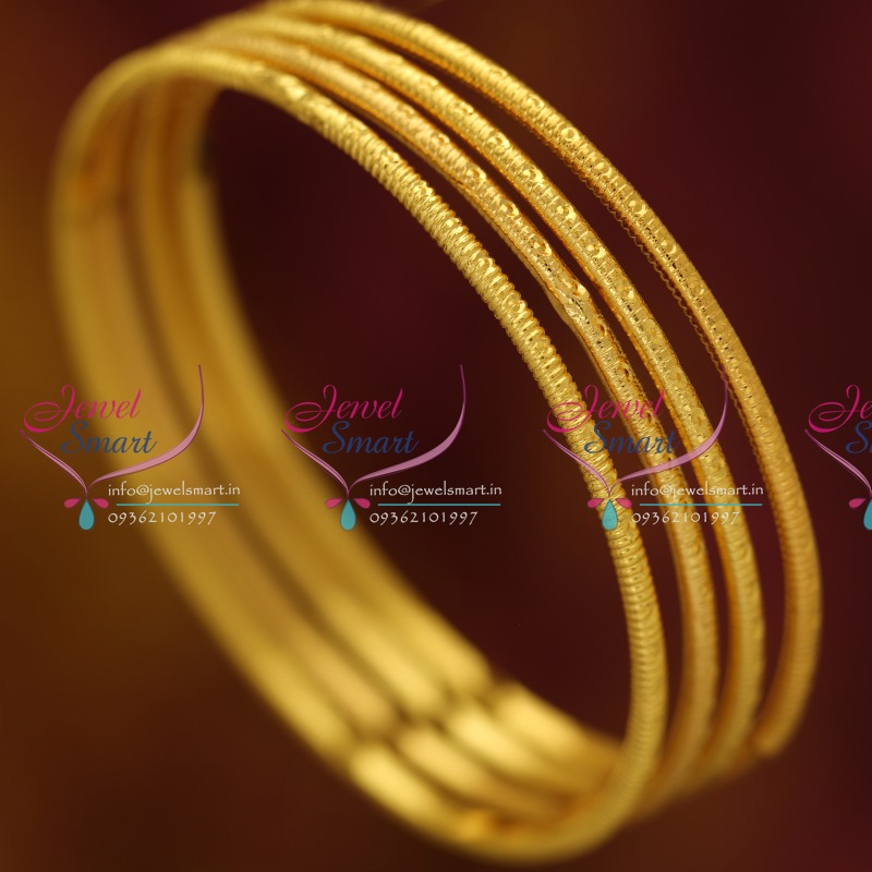 B0545B 2.8 Size 4 Pcs Thin Delicate Design Gold Plated Bangles ...
