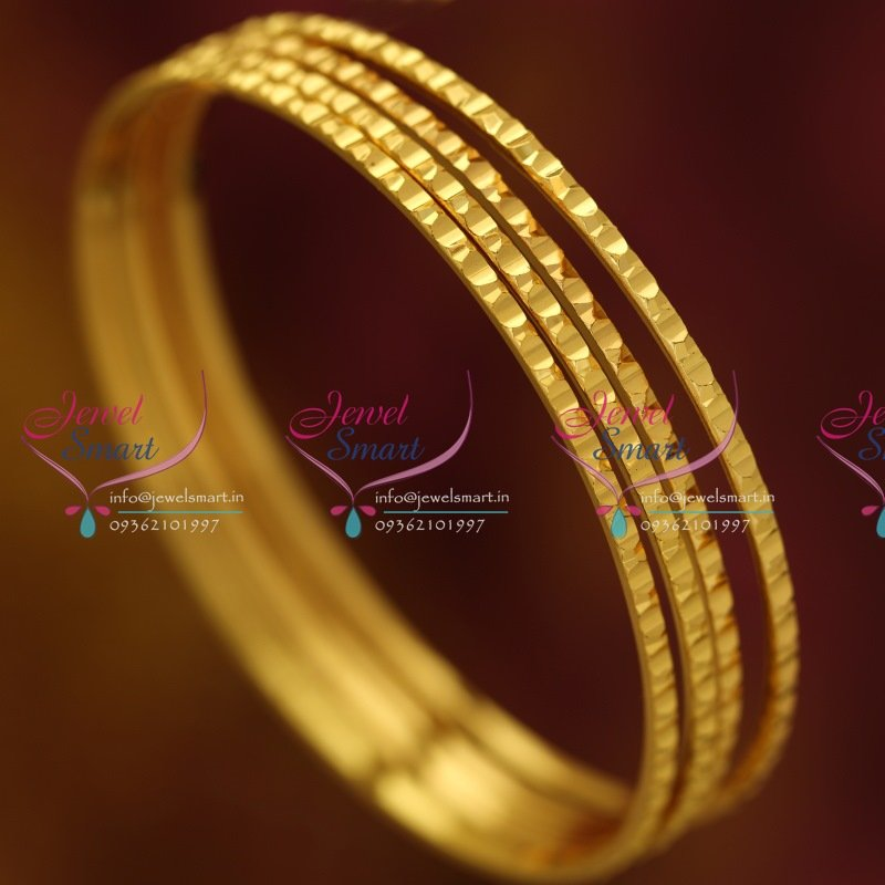 B0549S 2.4 Size 4 Pcs Thin Delicate Design Gold Plated Bangles ...