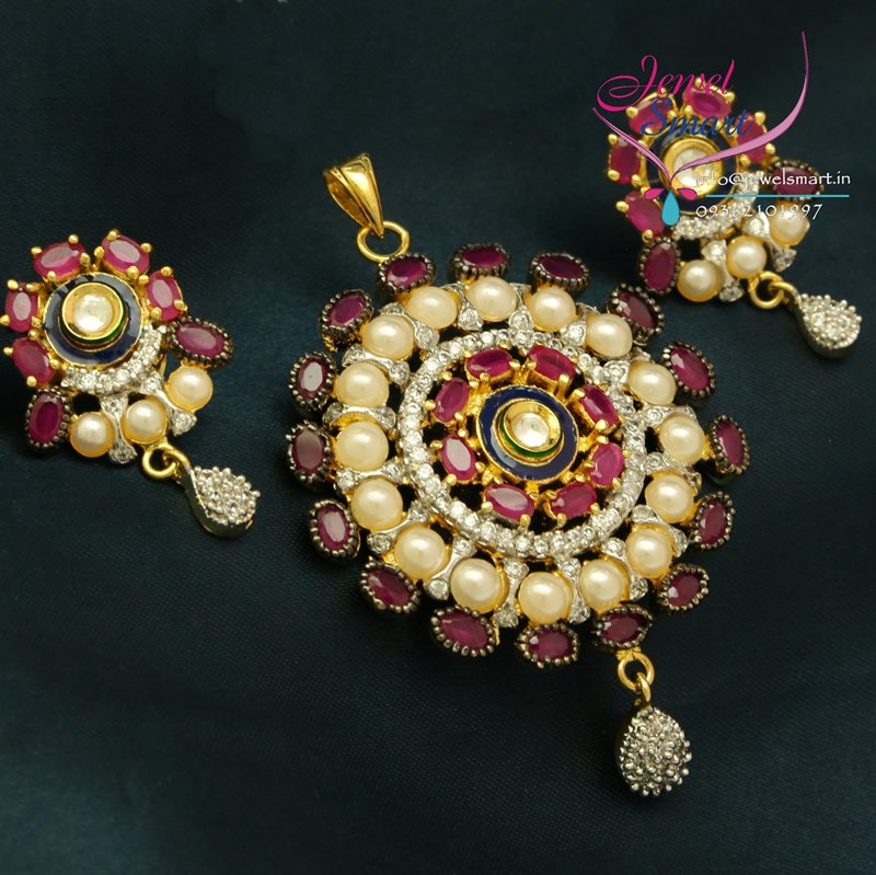 Indian Fashion Jewelry Bollywood Bridal Gold Plated Cz: PS0647 Indian Imitation Fashion Jewelry Gold Plated Ruby