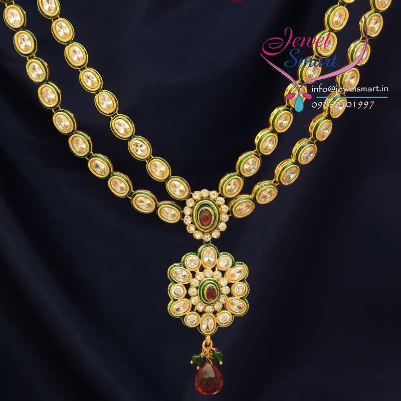 Indian Gold Plated American Diamond Fashion Jewelry Necklace Earrings