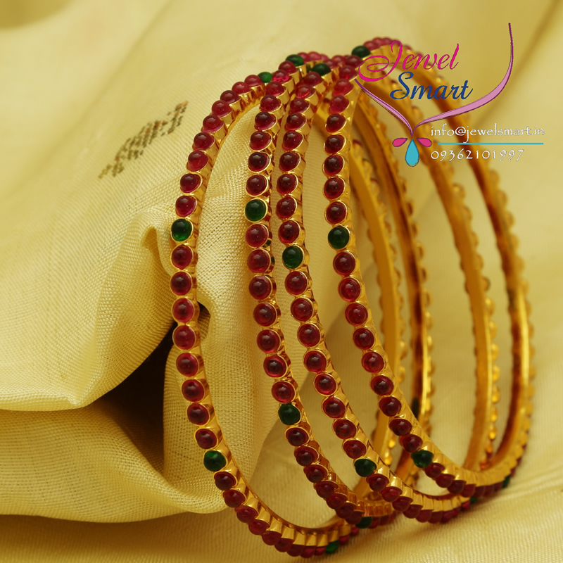 B0700 2.6 Size Kempu Temple Stones Bangles Gold Plated Traditional ...