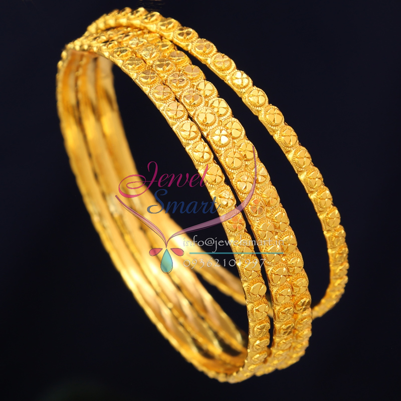 26 Size B0721 Gold Plated Bangles Daily Wear 4 Pieces Set