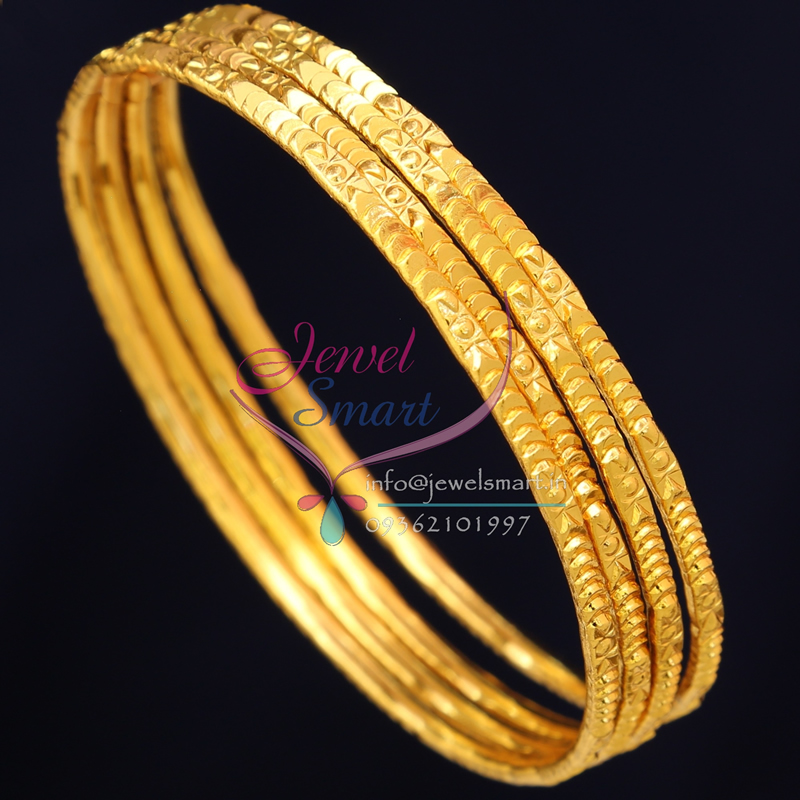 2 6 Size B0722 Gold Plated Bangles Daily Wear 4 Pieces Set