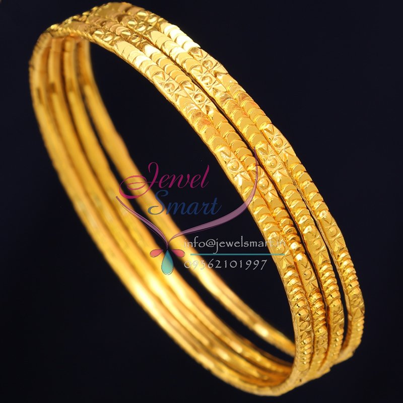 2 8 Size B0722 Gold Plated Bangles Daily Wear 4 Pieces Set