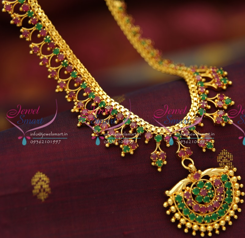 NL0734 Ruby Emerald Gold Design Imitation Jewellery Necklace Set ...