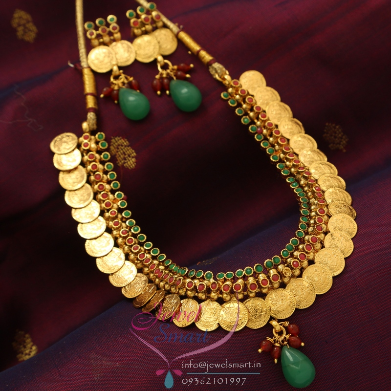 NL0745 Temple Coin Necklace Red Green Colour Antique Plating ...