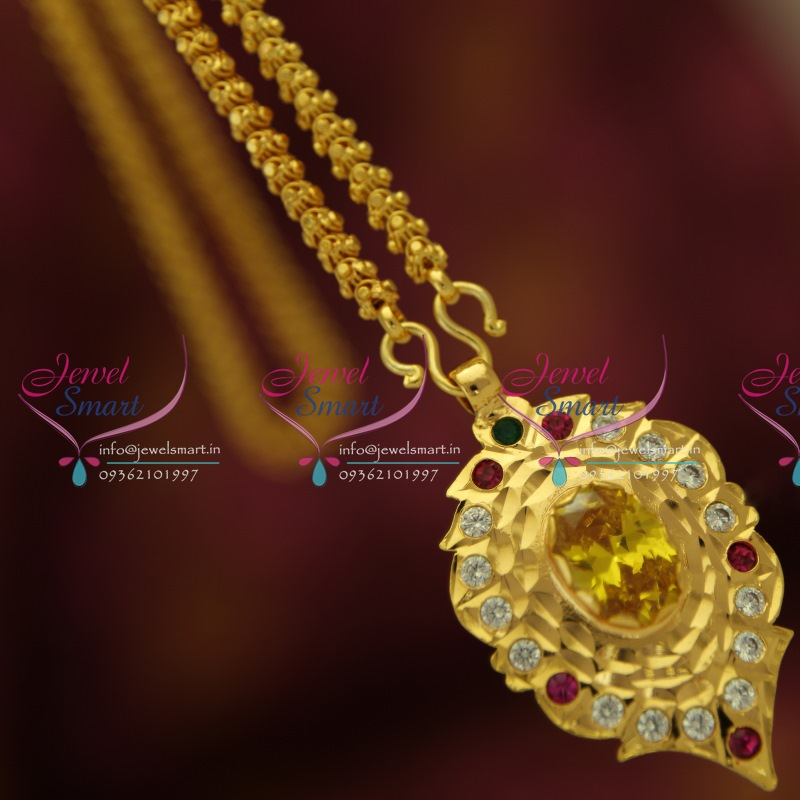 CS5321 Yellow Pendant Chain South Indian Traditional Jewellery ...
