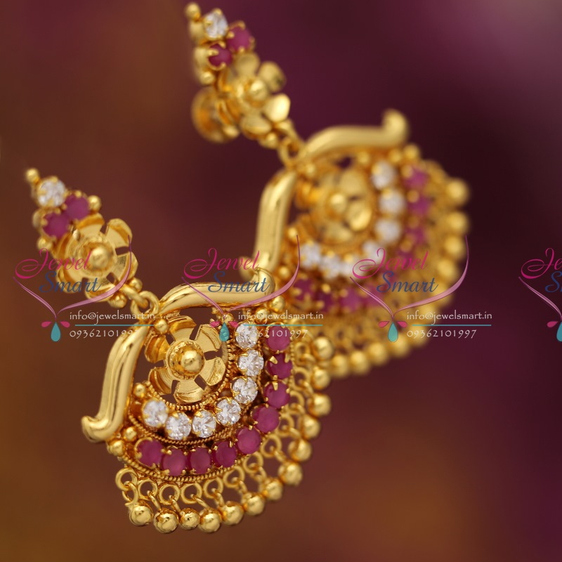 ES0761 Traditional Screwback Big Ruby Earrings Gold Finish Jewellery Online