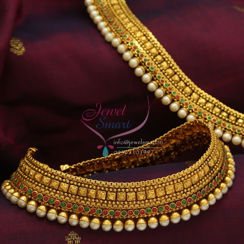 P0761 Antique Pearl Wide Red Green Payal Best Quality