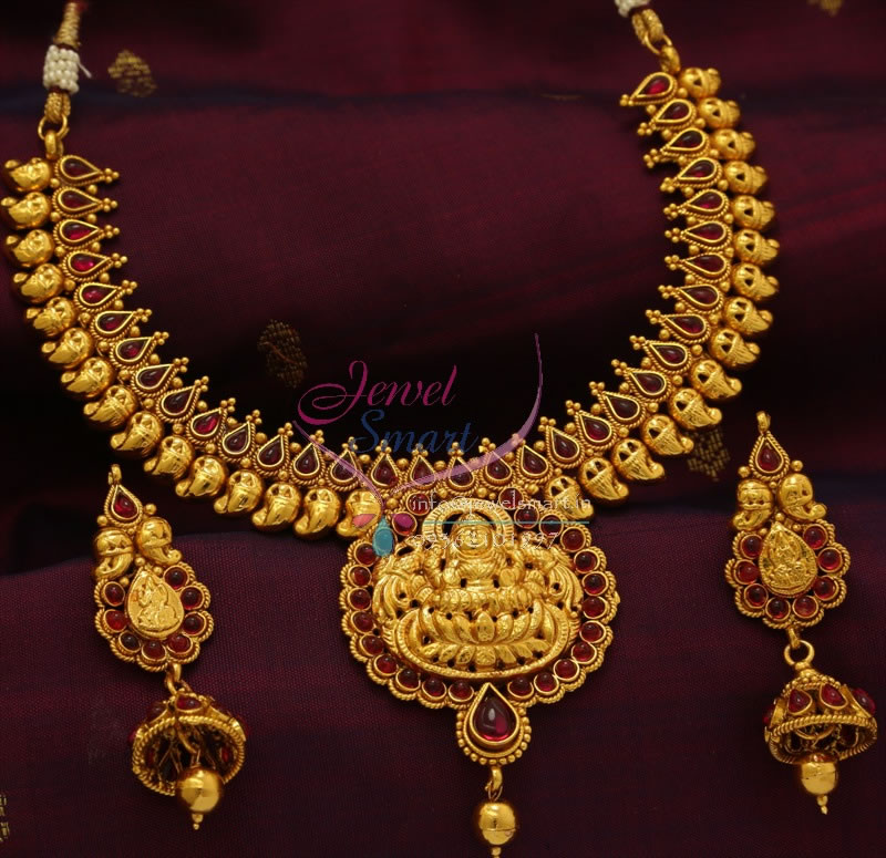 Indian Gold Jewellery Necklace Designs With Price: TNL0768 Indian Traditional Gold Design Quality Temple
