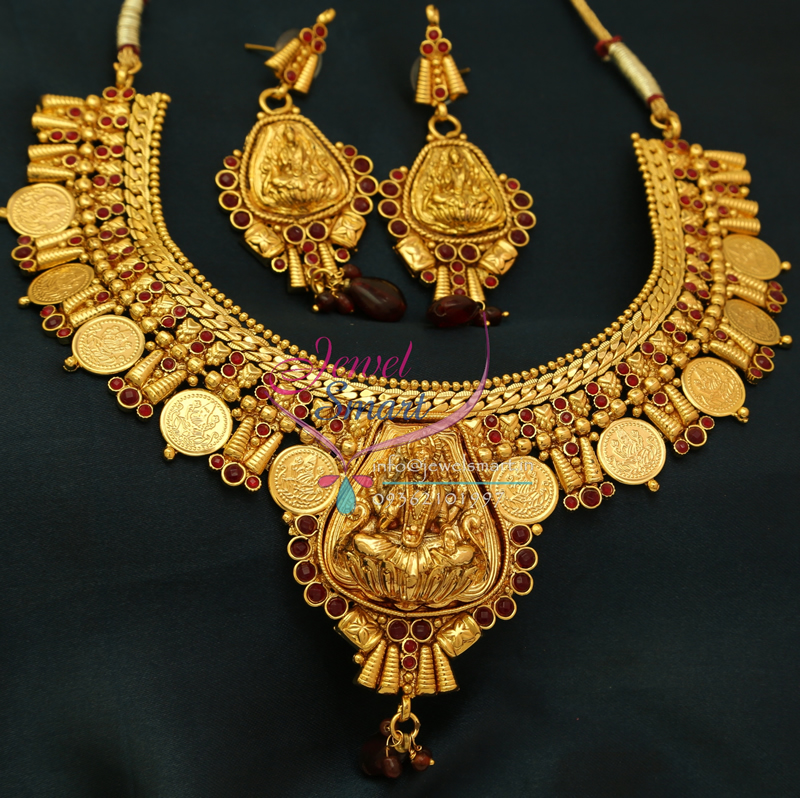 NL0773 Indian Traditional Temple Jewellery Gold Plated Laxmi Coin ...