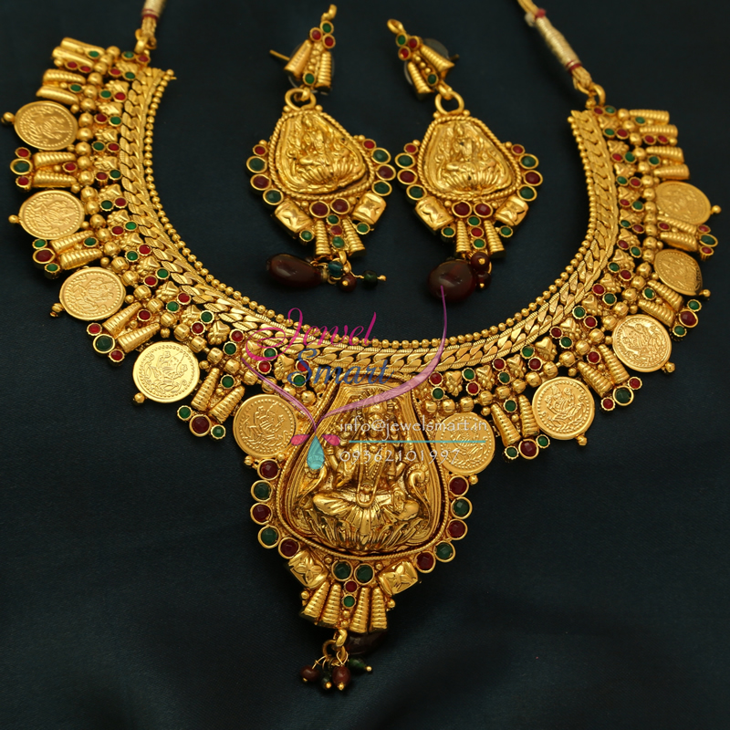 NL0774 Indian Traditional Temple Jewellery Gold Plated Laxmi Coin ...