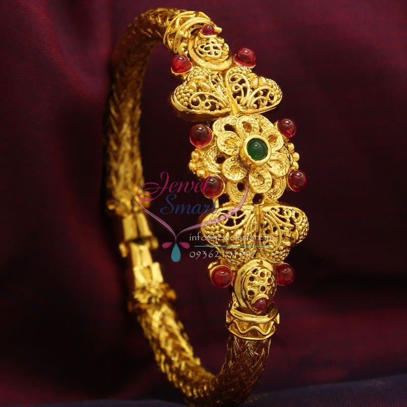 B0787 Temple Kempu Flower Kada e Gram Gold Plated Best Quality