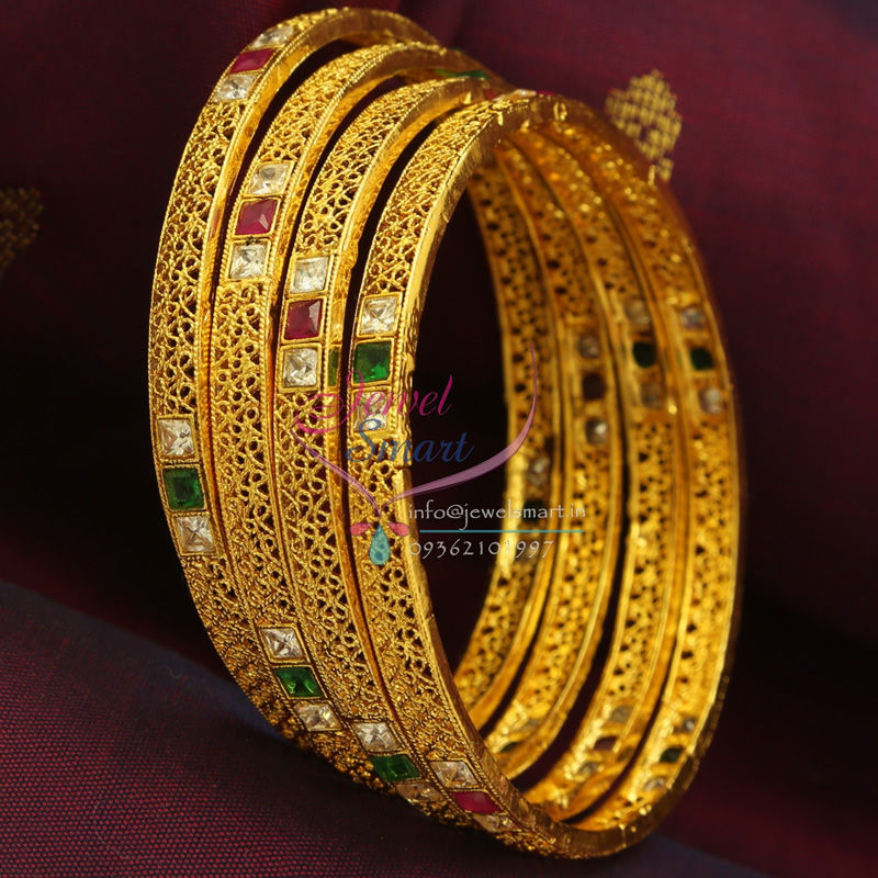 B0792B 2.8 Size Gold Design 4 Pieces Delicate Multi Colour ...