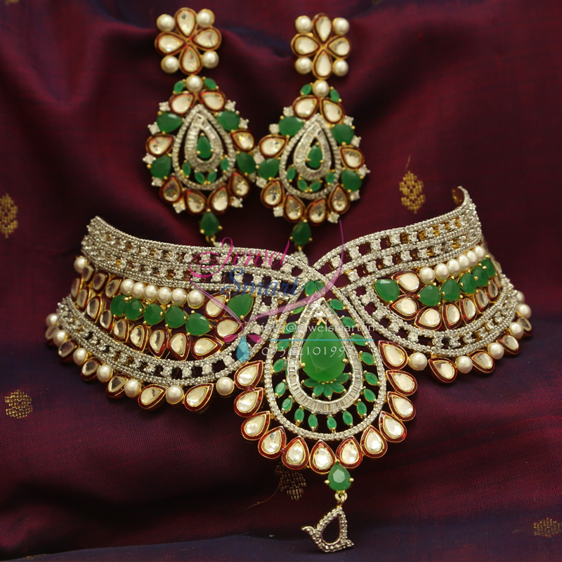 Ch0820 Ad Emerald Kundan Pearl Grand Choker Wedding Low