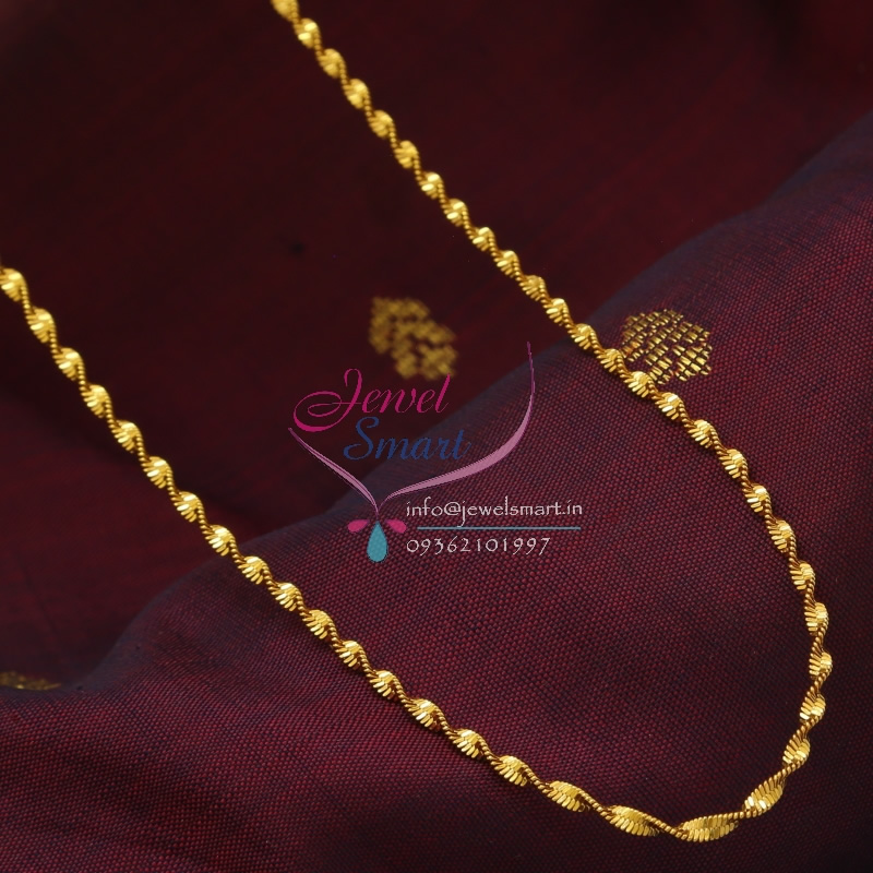 C0872 18 Inches Gold Plated Fancy Twisted Design Short Chain Daily ...